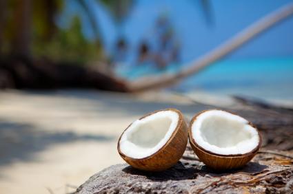 fresh coconut halves on beach